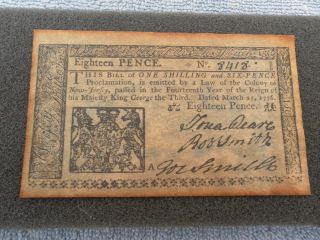 Reproduction Of Colony Of Jersey 1776 Eighteen Pence Note photo