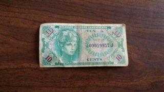 Us Currency Military Payment Certificate Series 641,  10 Cent,  Old Paper Money photo