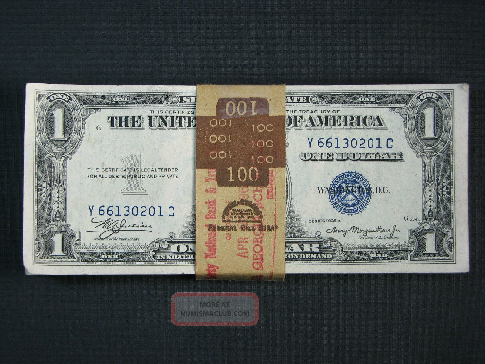 1935 (a) $1.  00 Silver Certs.  (100) Consecutive /w Bep Bank Band Small Size Notes photo