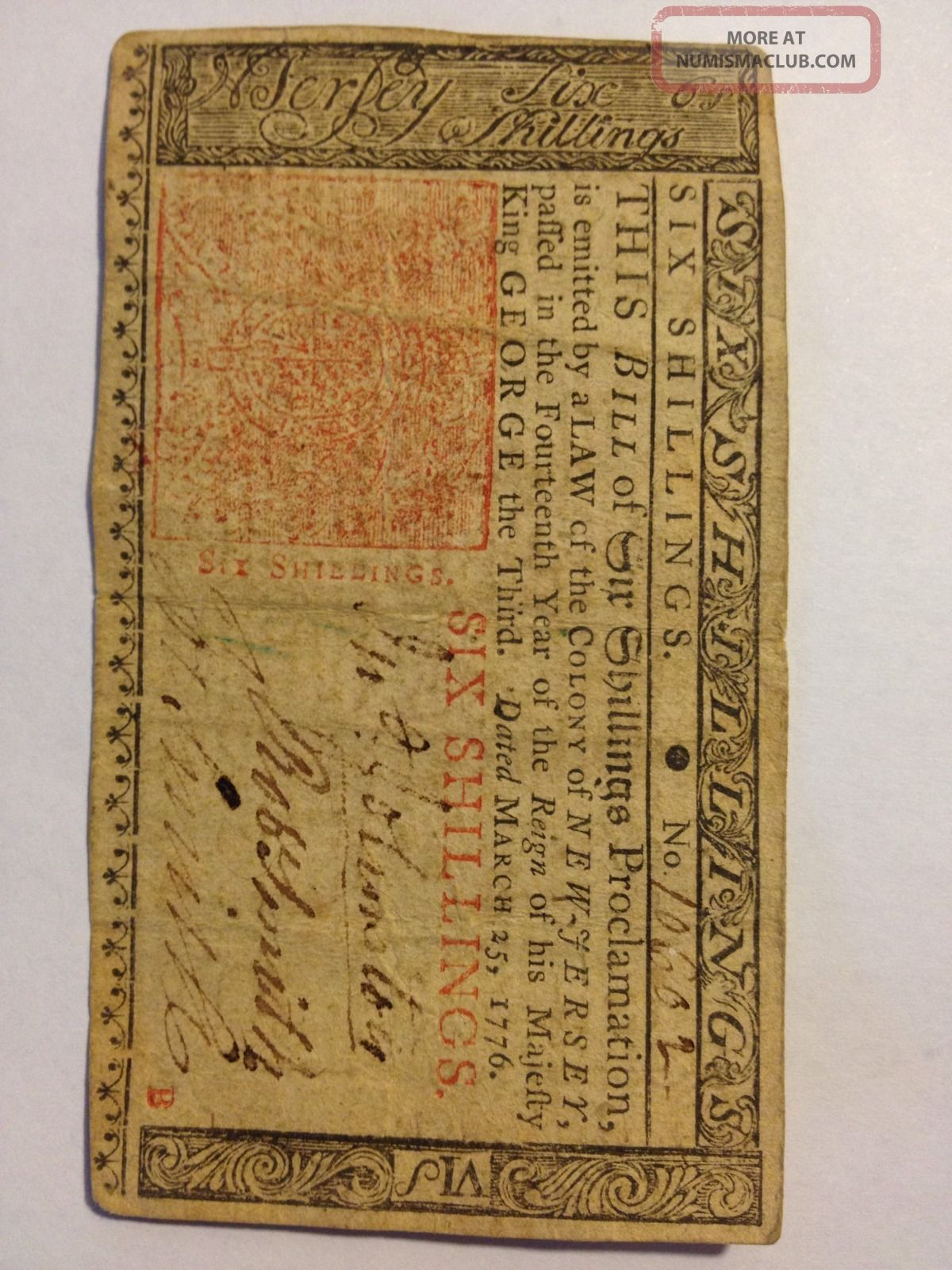 1776 Jersey Colonial Note. . . . . . . .  6 Shillings Paper Money: US photo