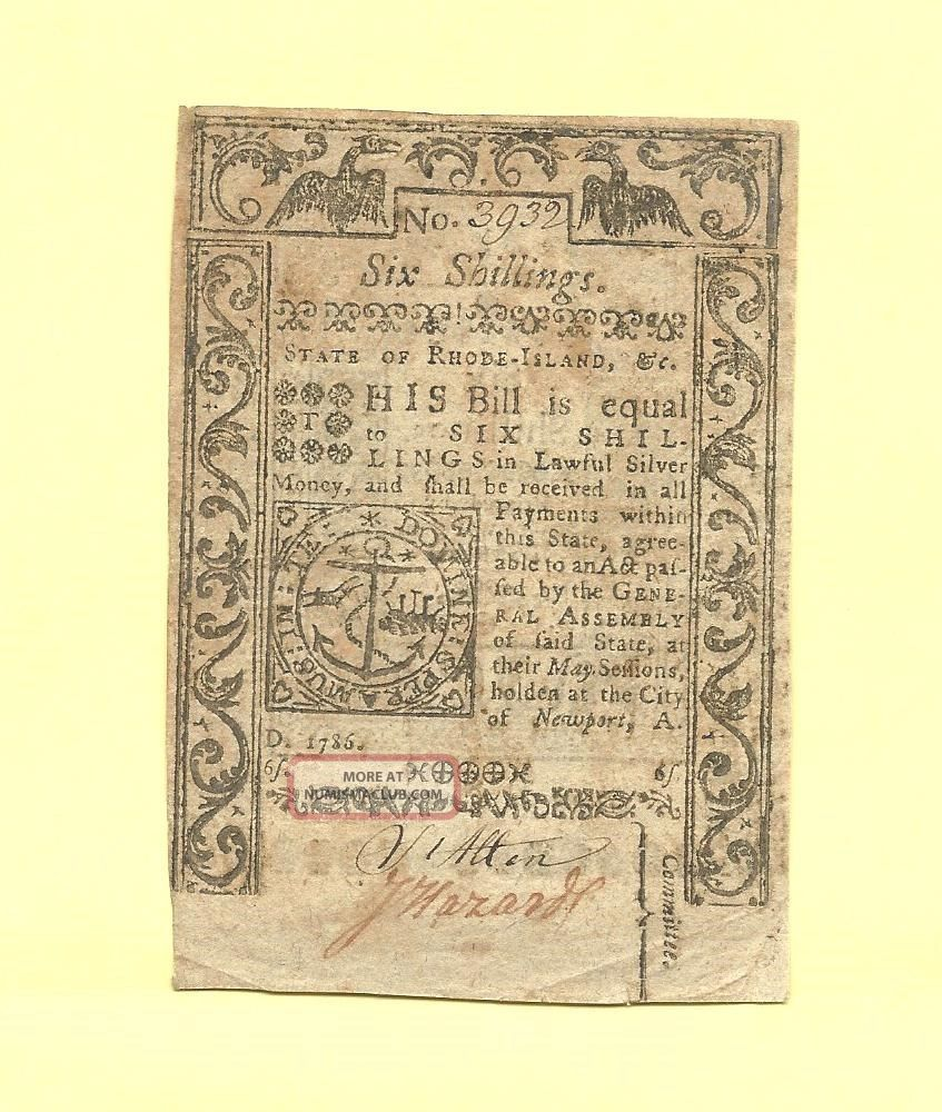 1786 Six Shillings Rhode Island Affordable Colonial History Very Fine Sharp Paper Money: US photo