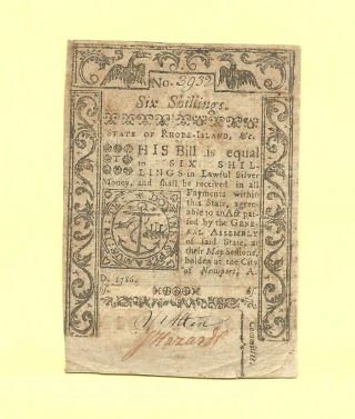 1786 Six Shillings Rhode Island Affordable Colonial History Very Fine Sharp photo