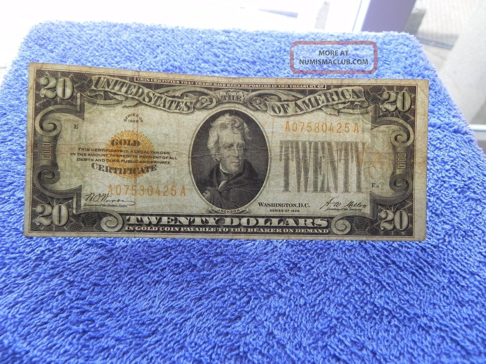 1928 $20 Twenty Dollar Gold Certificate Woods - Mellon - Mule? Gold Seal (20gkh) Small Size Notes photo