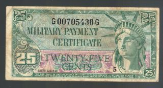 25¢ Us Military Payment Certificate Korean War Mpc 591 M45 Cypress & Philippines photo