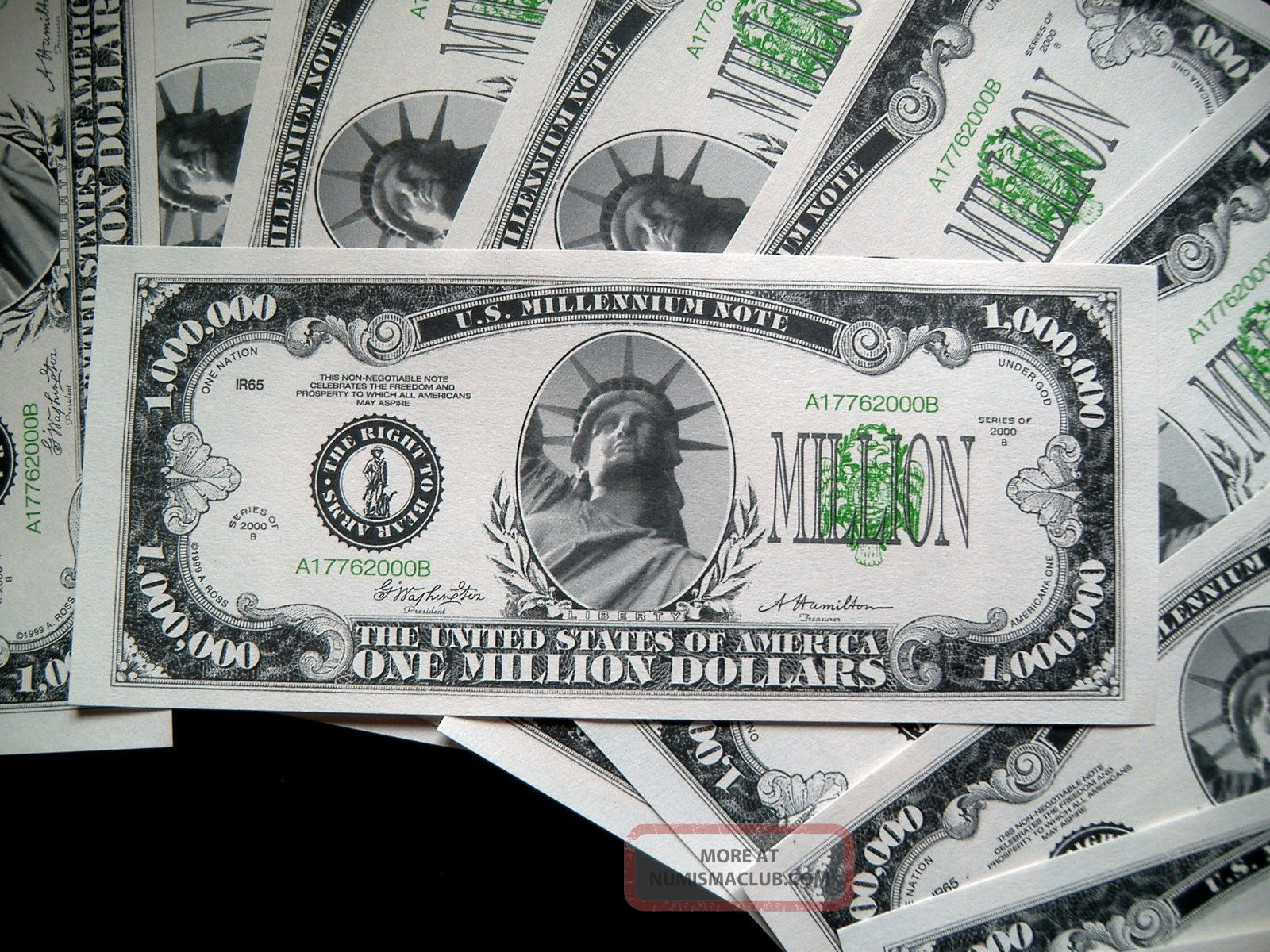 10 - One Million Dollar Bills - 5 Bill Pack - Fake Play Novelty Money - Million Paper Money: US photo