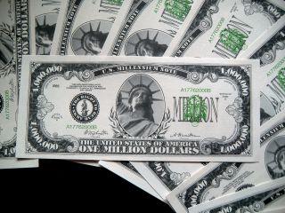 10 - One Million Dollar Bills - 5 Bill Pack - Fake Play Novelty Money - Million photo