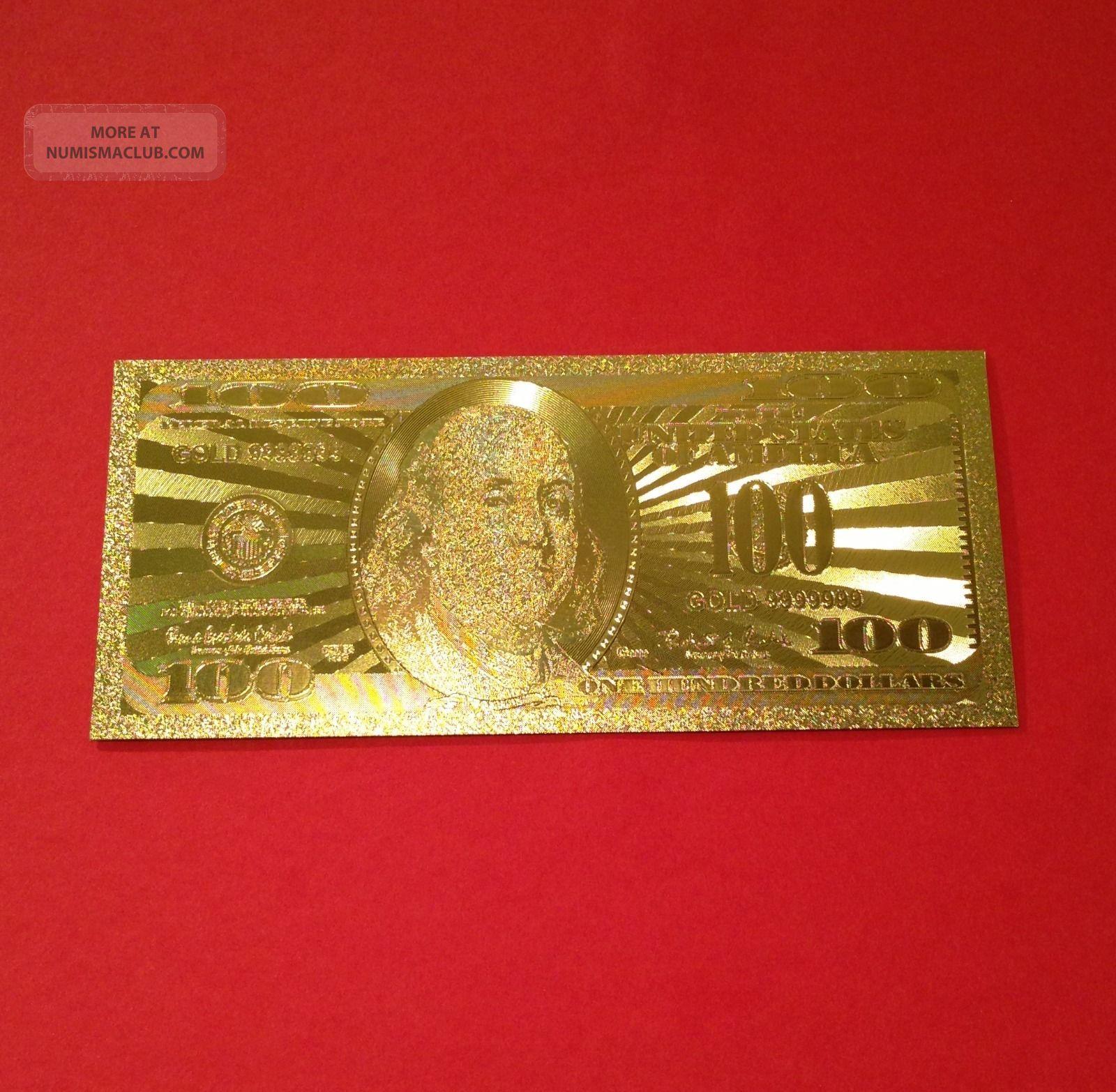 . 999 Gold Foil $100 Dollar Bills Paper Money: US photo