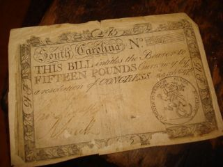 Colonial Paper Money South Carolina 15 Pound 1776 Large Note Rare To Find photo
