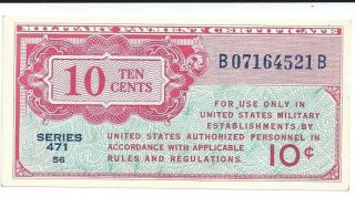 Mpc Series 471 Military Payment Certificate 10 Cents Chcu 1947 Currency 521b photo