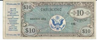 Mpc Series 472 Military Payment Certificate $10 Vf 1948 Currency 376c photo