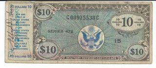 Mpc Series 472 Military Payment Certificate $10 Vf 1948 Currency 538c photo
