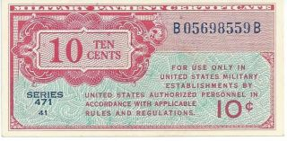 Mpc Series 471 Military Payment Certificate 10 Cents Chau 1947 Currency 559b photo