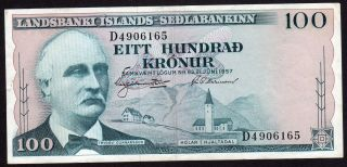 Iceland 100 Kronur L.  1957 Rare Date photo