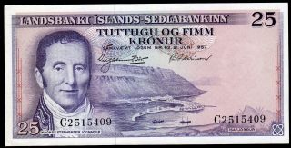 Iceland 25 Kronur L.  1957 Very Rare Date photo