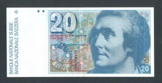 Switzerland 20 Francs 1989 Vf/xf P55h photo