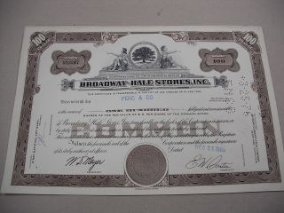 1966 100 Share Stock Certificate For Broadway - Hale Stores,  Inc photo