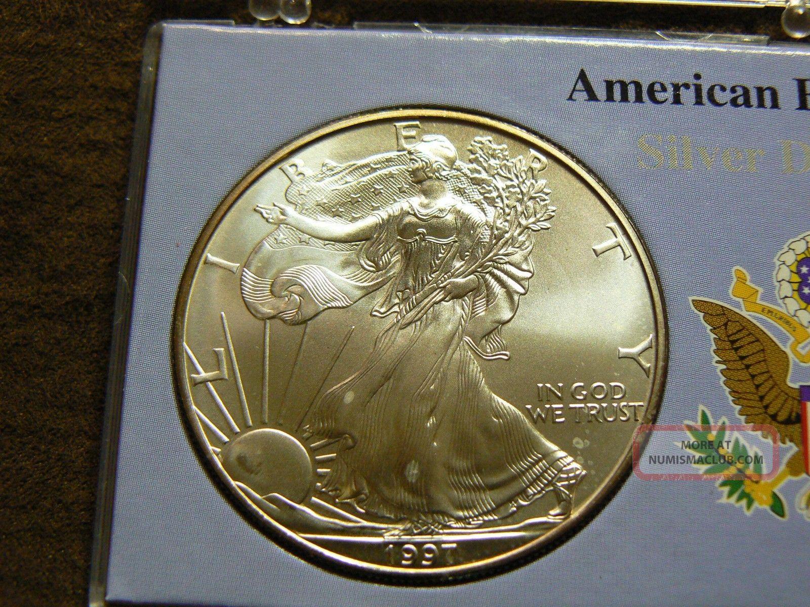 1997 American Silver Eagle 1 Oz 999 One Dollar U S Coin