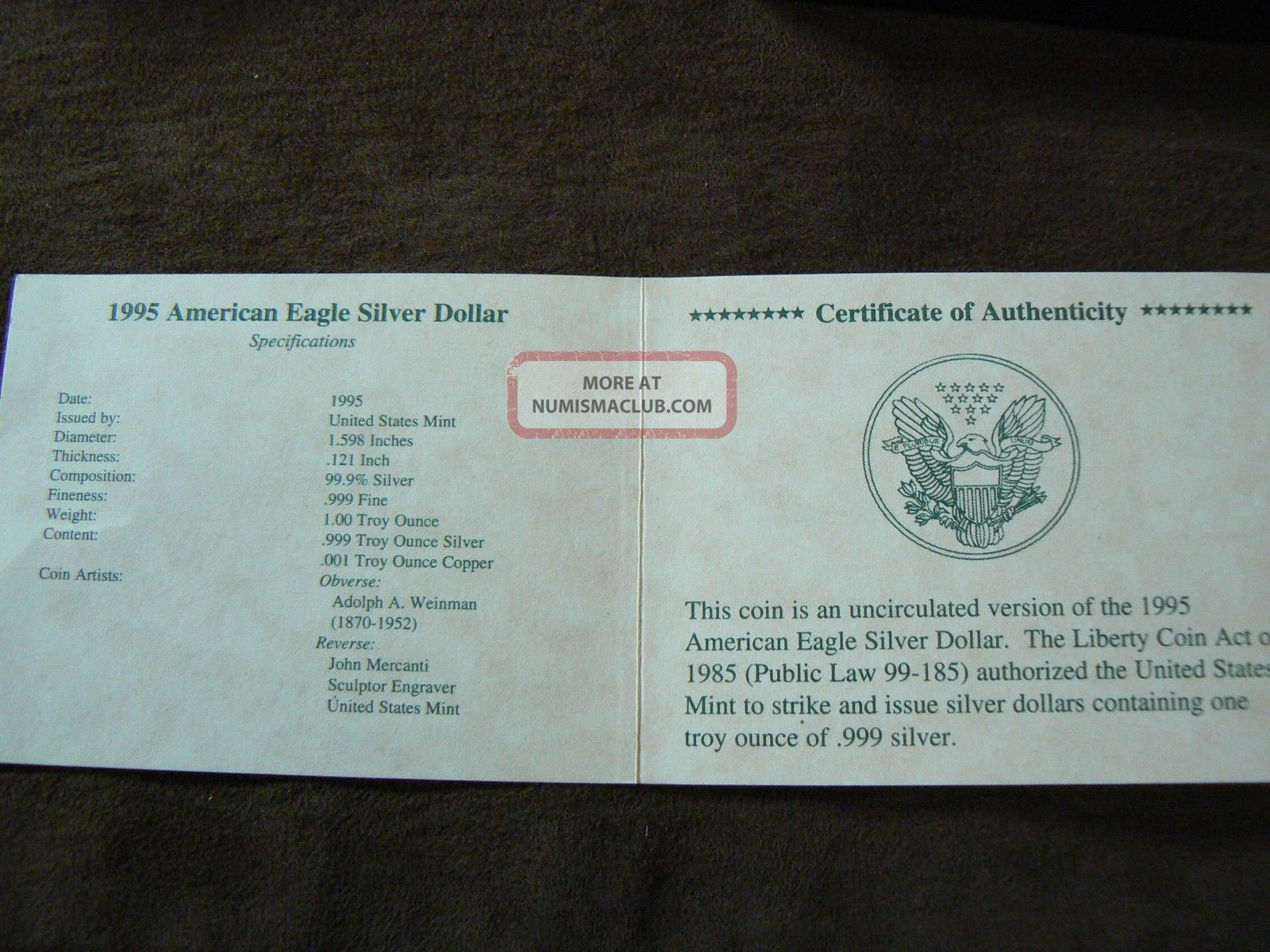 1995 American Silver Eagle 1 Oz 999 One Dollar U S Coin