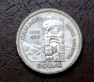 800 Silver 1958 Canada Dollar British Colombis Totem Pole Km 55 Start At Melt photo