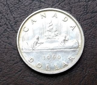 800 Silver 1966 Canada Dollar Voyageur Canoe Circ Luster Km 64.  1 Start At Melt photo