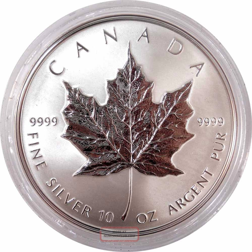 1998 50 Canadian Maple Leaf 10th Anniversary 10 Oz Fine