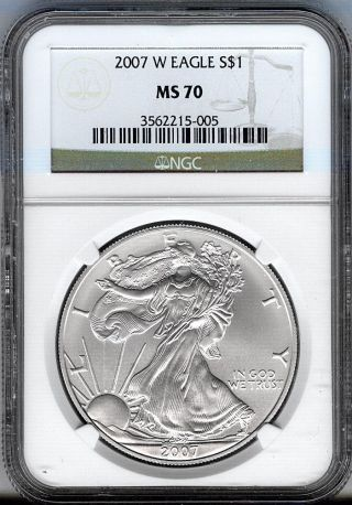 2007 - W Burnished Silver Eagle - Ngc Ms70 - Perfect White Gems photo