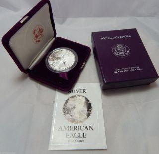 1988 Proof American Silver Eagle Dollar Bullion Coin W/ Case,  Box & photo