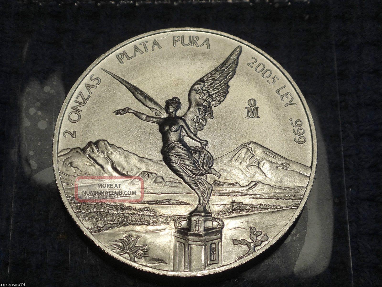 Key Date 2005 Mexico Silver 2 Onzas Libertad Coin