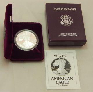 1990 - S Proof American Silver Eagle Dollar Bullion Coin W/ Case,  Box & photo