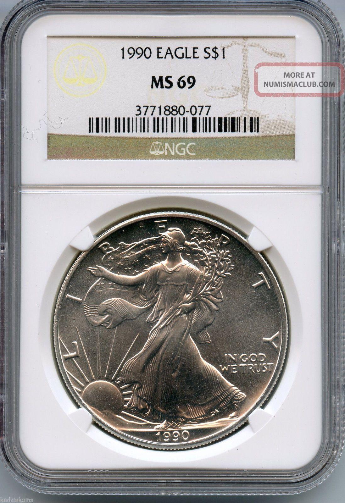 1990 Ngc Ms 69 American Eagle 999 Silver Dollar 1 Oz