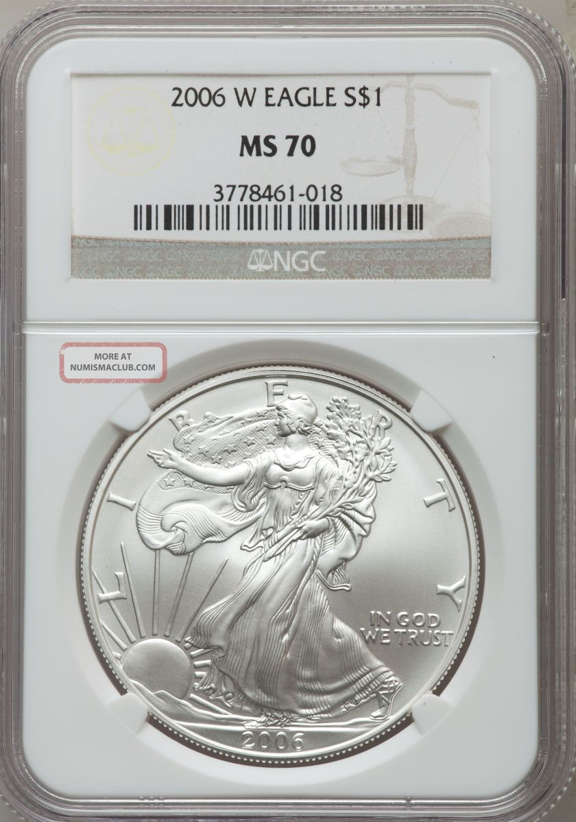 2006 - W $1 Silver Eagle,  Ngc Ms70 Silver photo