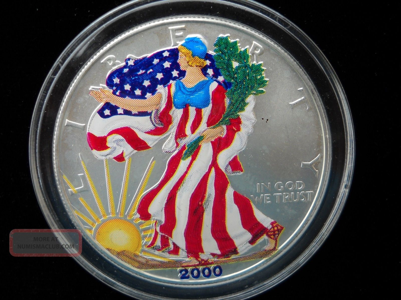 2000 American Eagle Silver Dollar Colorized Walking