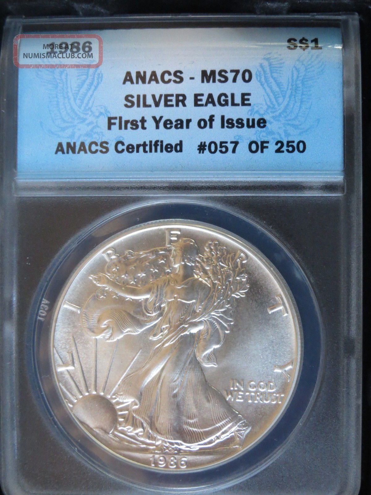 1986 1 American Silver Eagle First Year Of Issue 57 Of