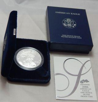 2006 - W Proof American Silver Eagle Dollar Bullion Coin W/ Box & photo