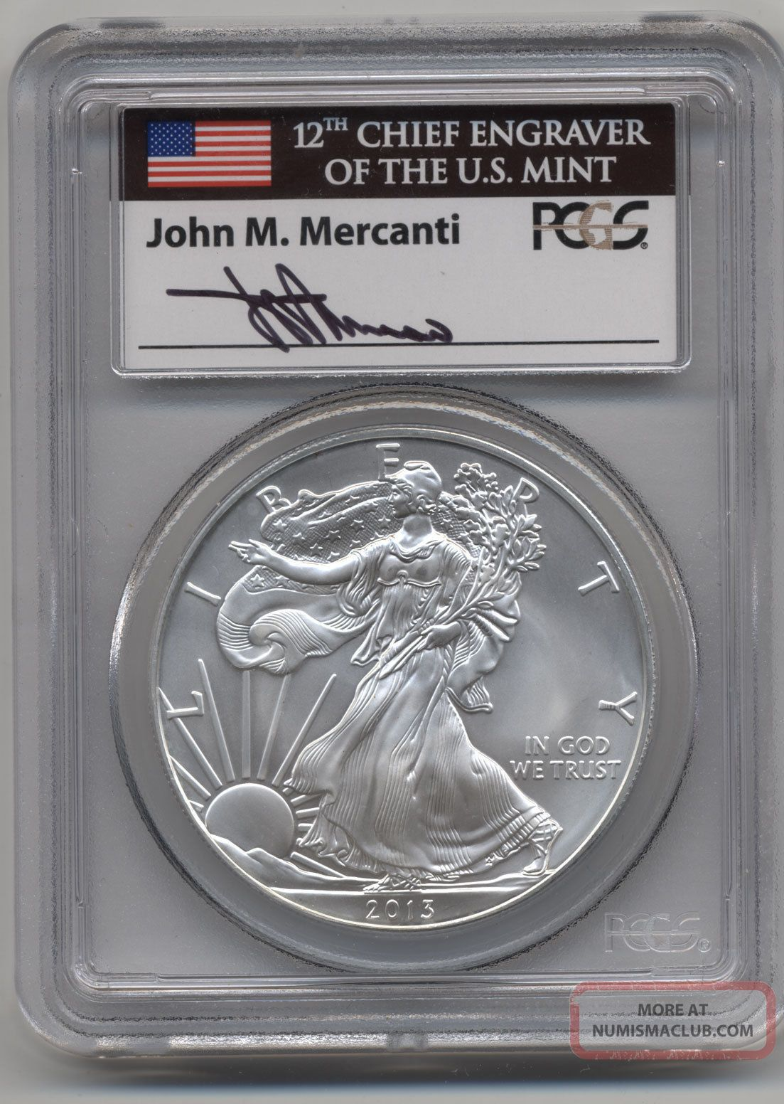 John M Mercanti Signed 2013 Pcgs First Strike Ase Ms70