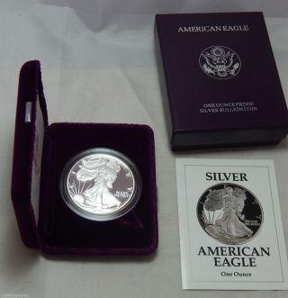 1991 - S Proof American Silver Eagle Dollar Bullion Coin W/ Case,  Box & photo