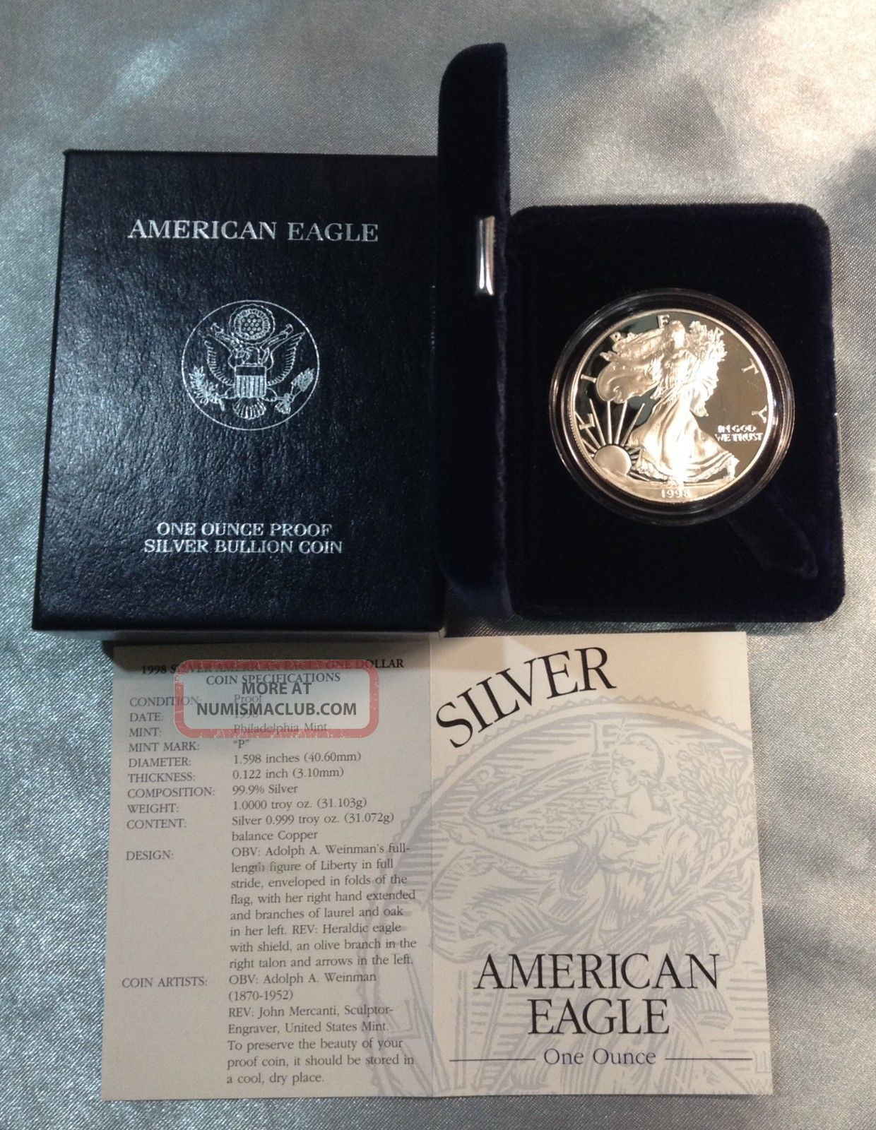 1998 P Proof Silver American Eagle 1 0z Silver Coin