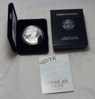 1996 - P Proof American Silver Eagle Dollar Bullion Coin W/ Box & photo