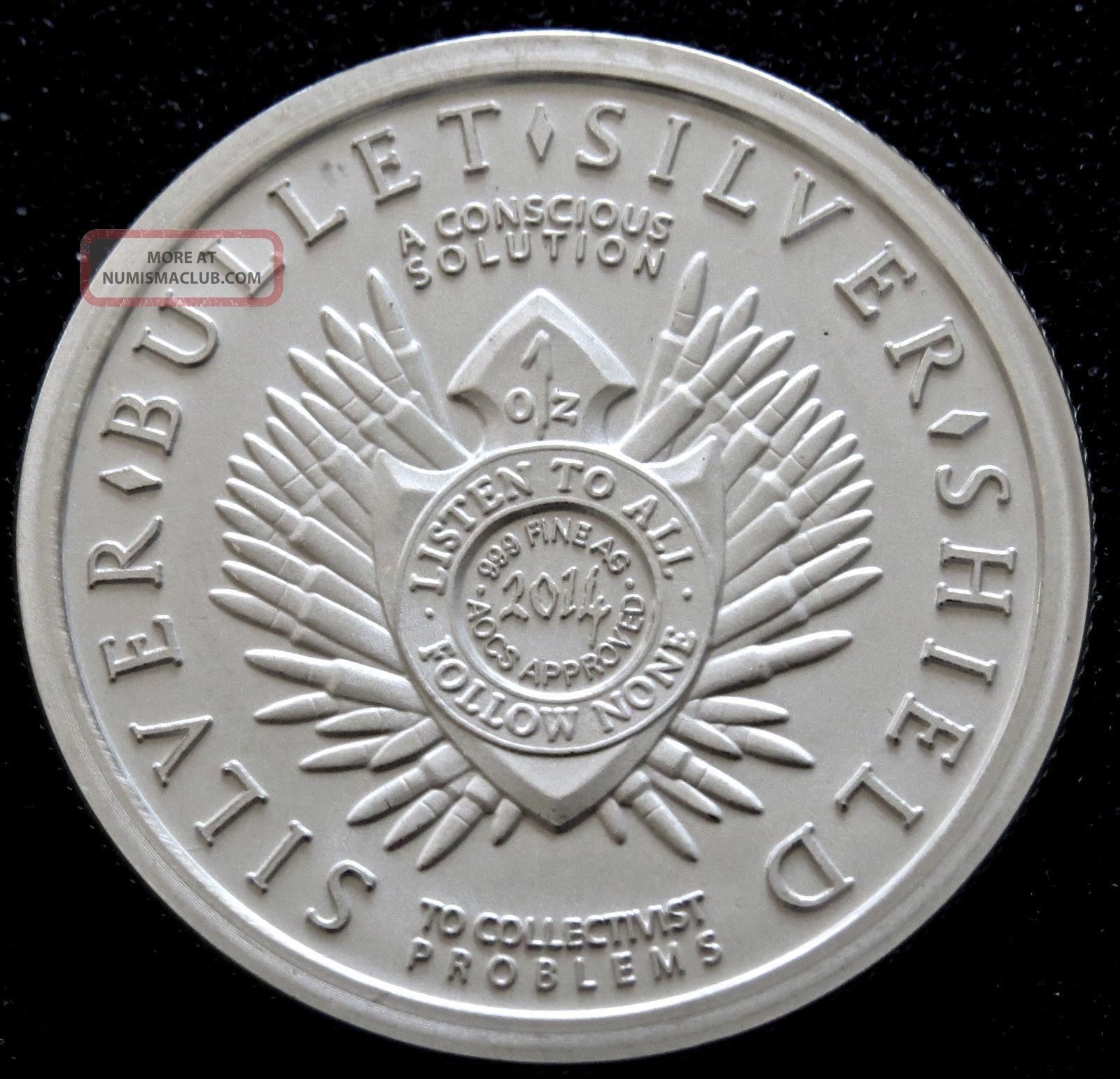 2014 Silver Bullet Silver Shield 1 Oz 999 Silver Arise
