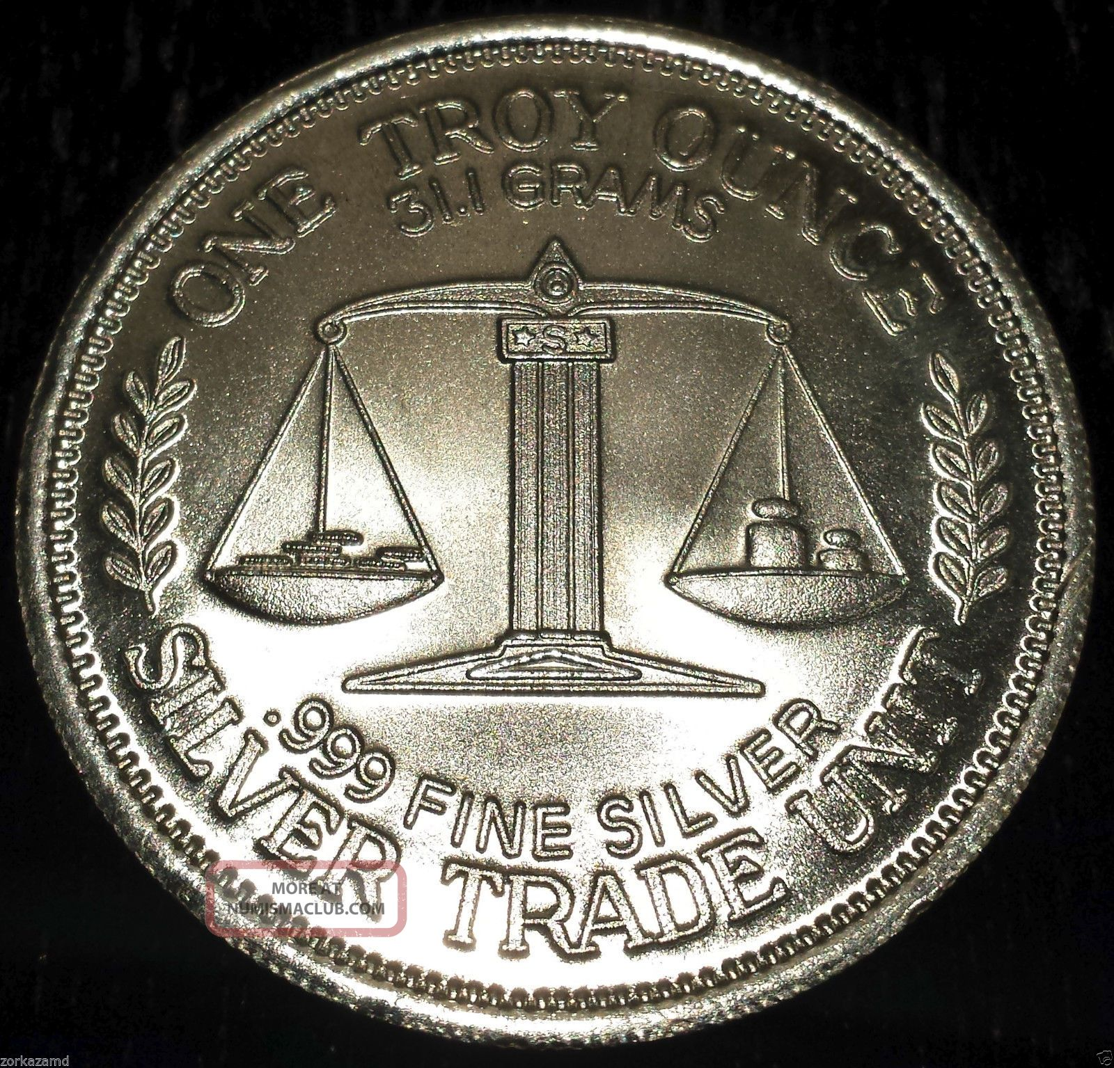 1985 Morgan 1 Troy Oz 999 Fine Silver Trade Unit Wtu26
