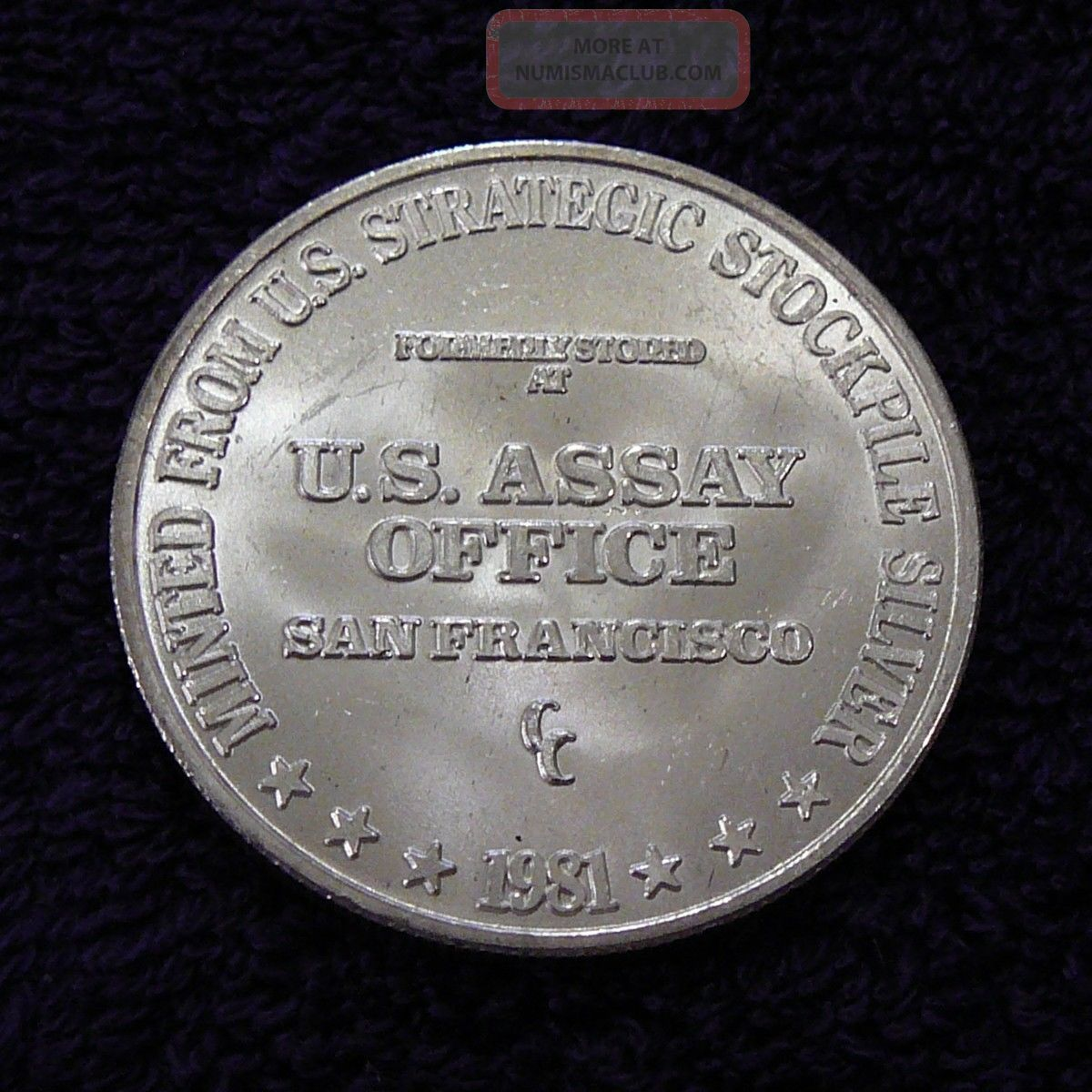 1981 U S Assay Office 1 Oz 999 Fine Silver Round