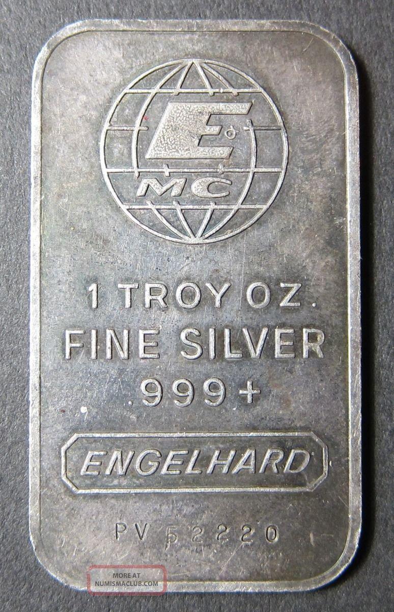 Engelhard Mc Vintage 1 Troy Oz 999 Fine Silver Bullion
