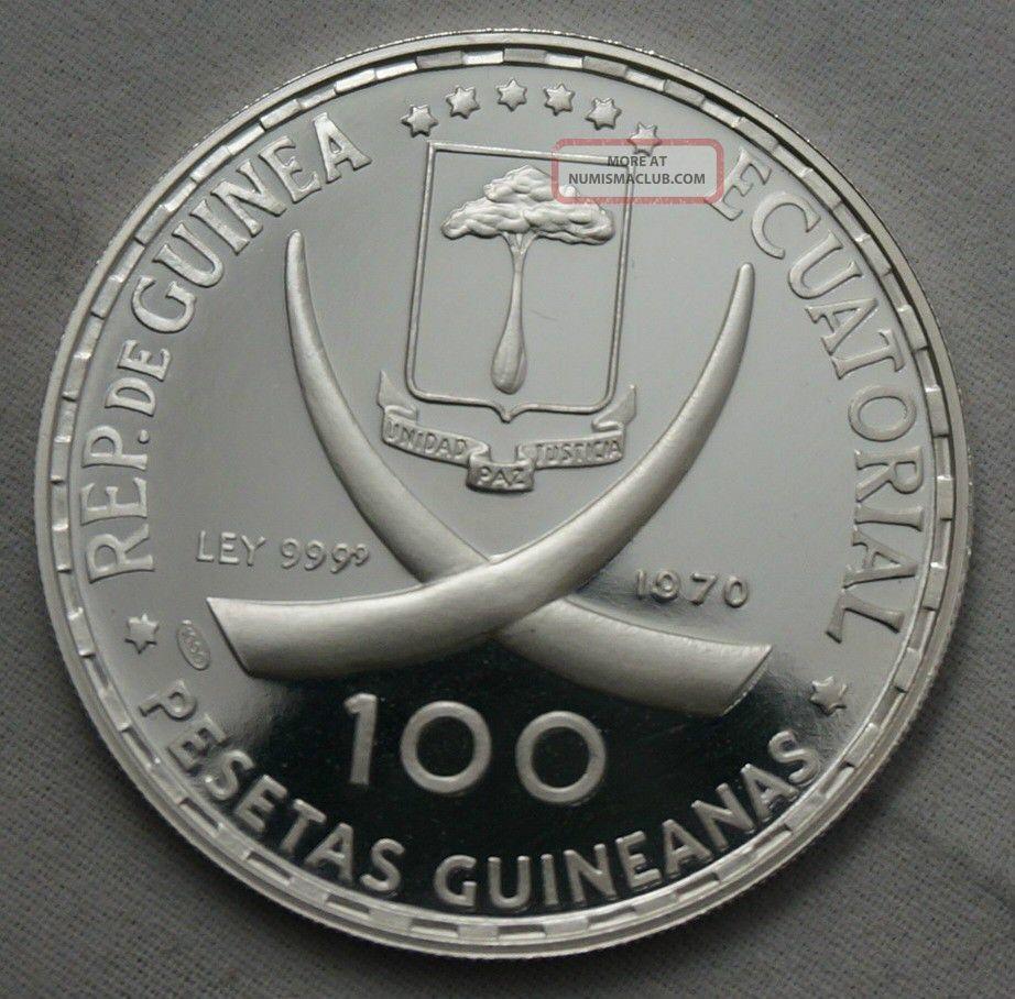 1970 Goya Maja Guinea 100 Pesetas 999 Silver Coin