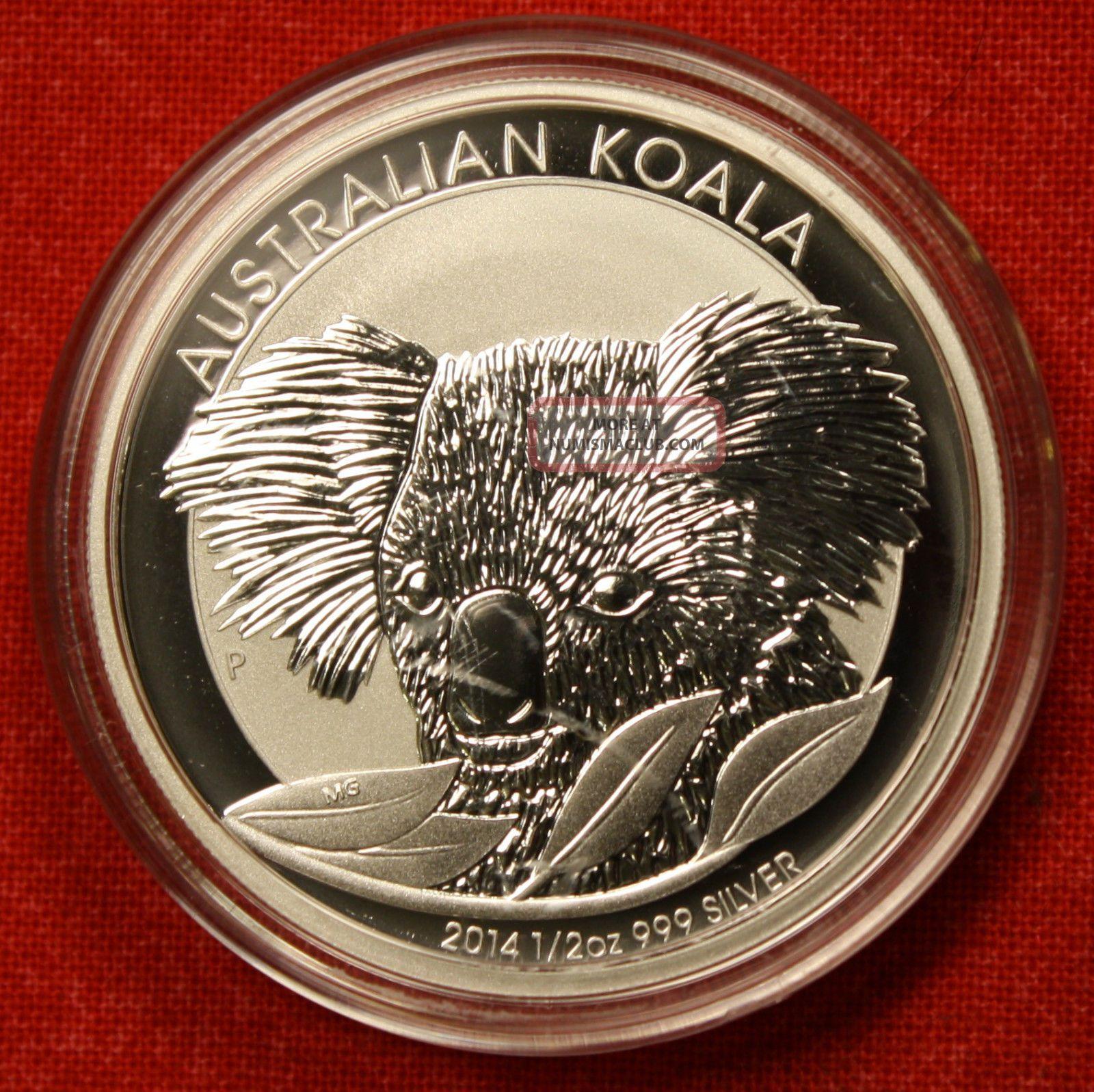 2013 AUSTRALIAN KOALA DESIGN 1/2 oz .999% SILVER ROUND