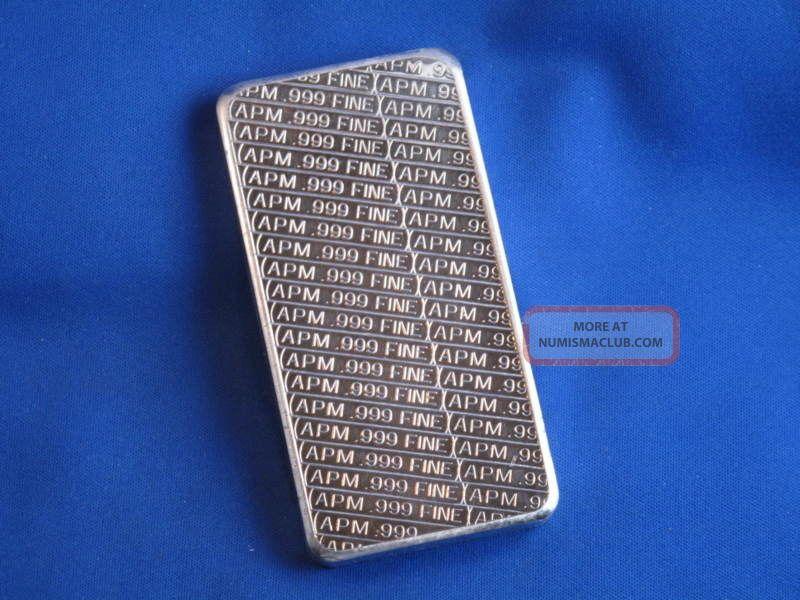 Apm 999 Silver 10 Oz Struck Ingot Bar B3310