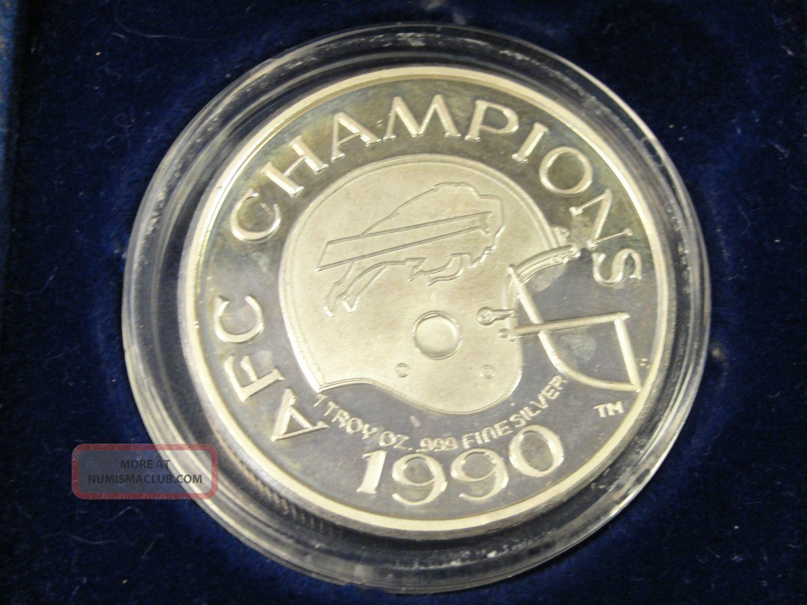 1990 Nfl Buffalo Bills Afc Champions Silver Coin 1 Troy Oz