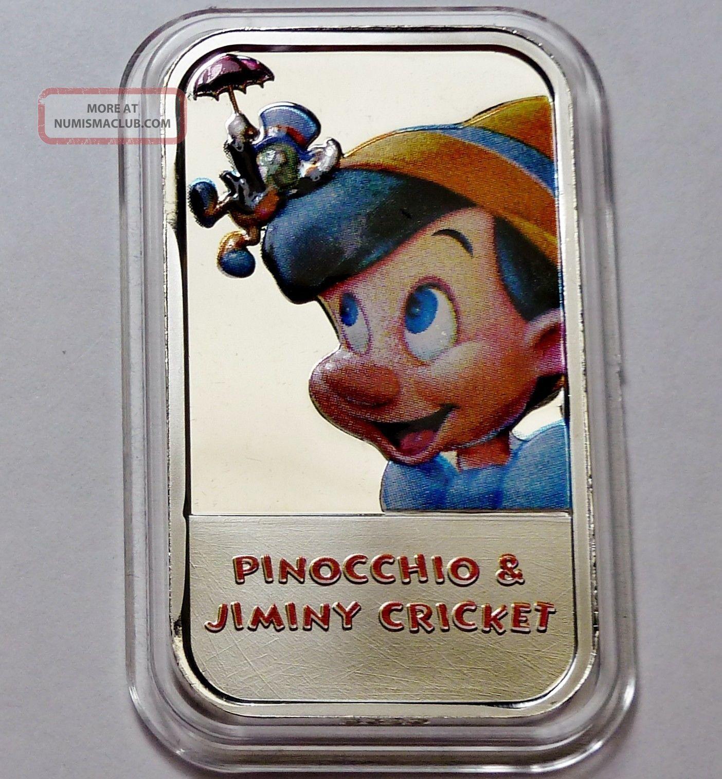 Disney Pinocchio Amp Jiminy Cricket 1 Troy Oz 999 Silver