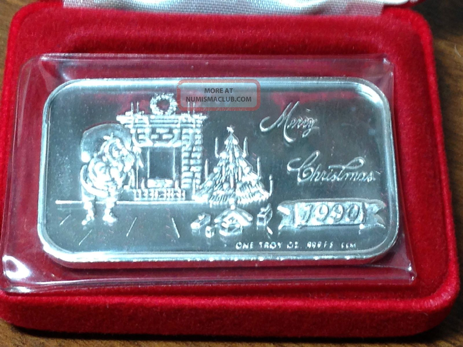1990 Merry Christmas One Troy Ounce 999 Fine Silver Bar