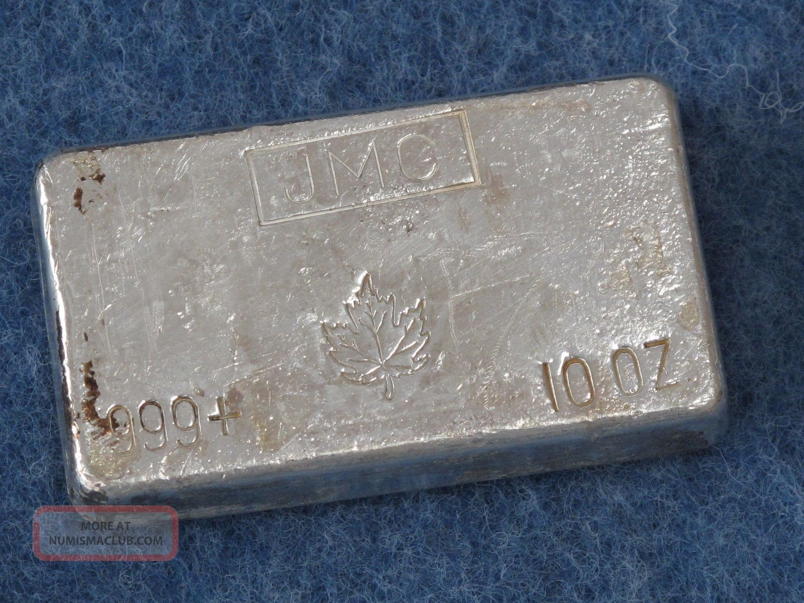 Johnson Matthey Canada Maple Leaf 999 Silver 10 Oz Bar