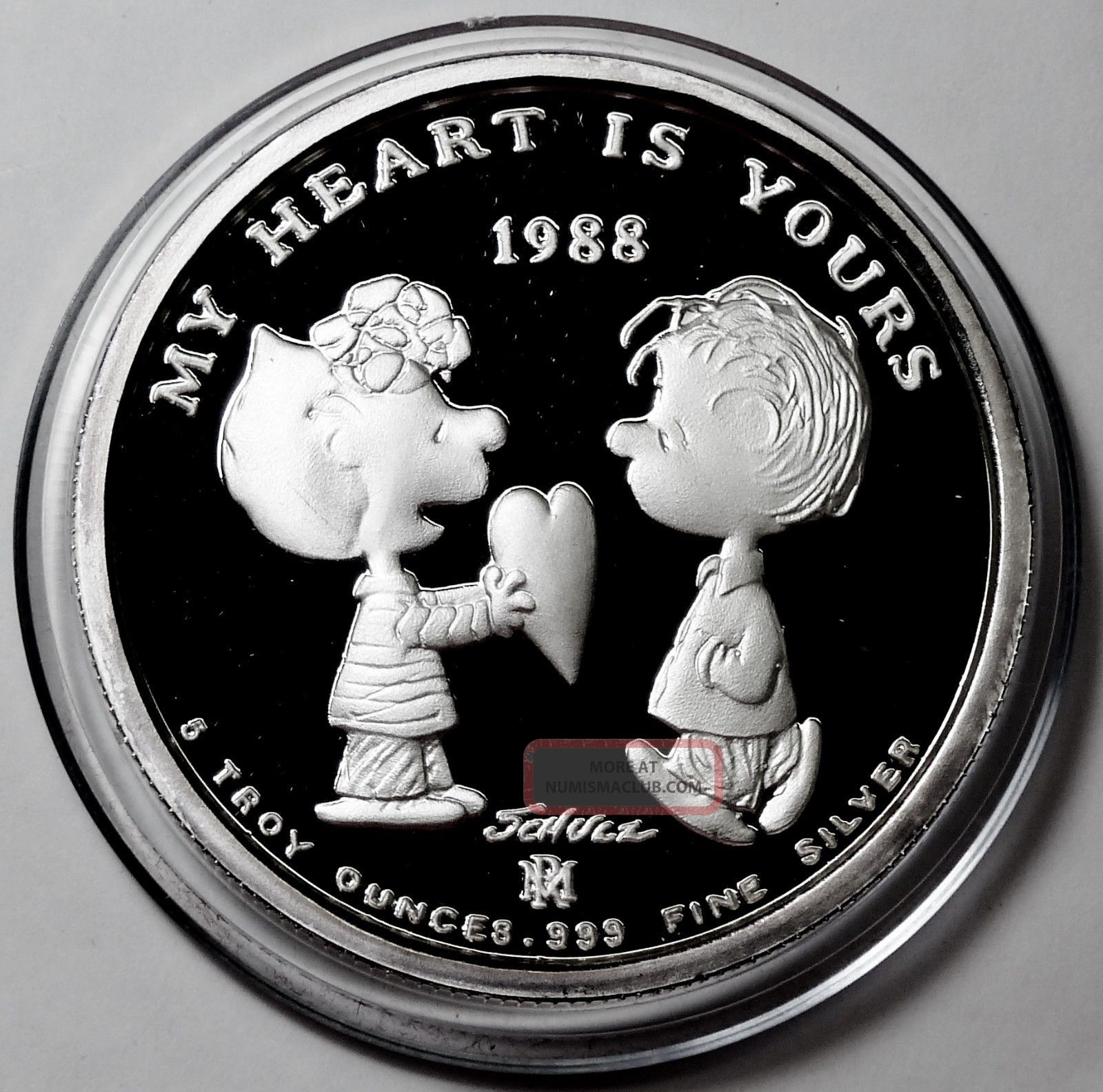 Peanuts Snoopy Charlie Brown Love Heart 5 Oz 999 Silver Coin Case Very Rare